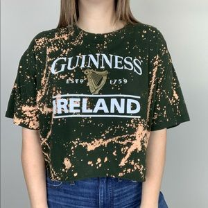 Tops - Guinness | Bleached Graphic Tee Beer Logo Casual